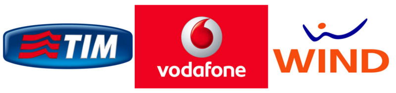 Logo TIM, Vodafone, Wind
