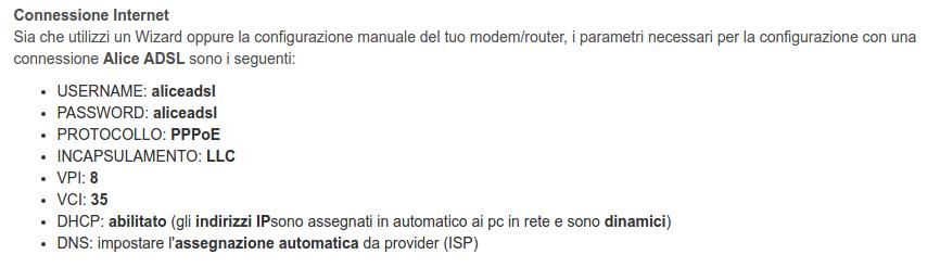 Parametri Alice ADSL