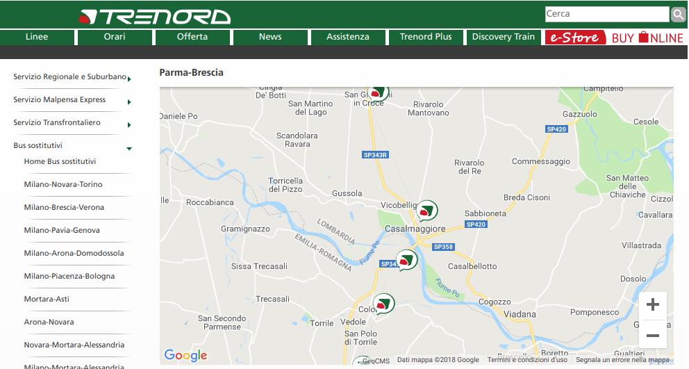 Trenord - Fermate autobus sostitutivi sulla Brescia - Piadena - Parma